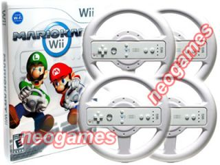 Mario Kart Wii Bundle Game CD 4 Pro Racing Wheels Fast Priority Mail