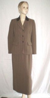 Kasper Brown Herringbone Long Pencil Skirt Suit Blazer Suede Collar