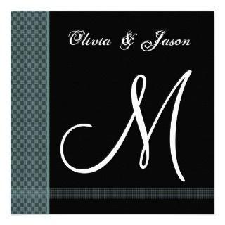 Teal & Black Monogram Wedding Invitation Checks