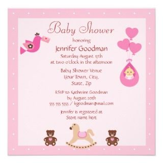 Rocking Horse & Bears Pink Baby Shower Custom Invites