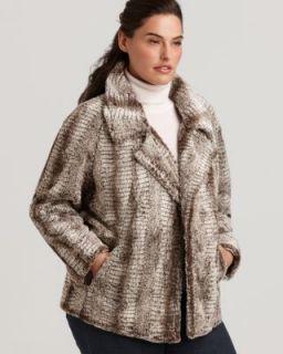 Karen Kane New Beige Faux Fur Notch Collar Open Front Jacket Coat Plus