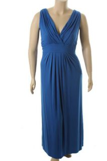 Karen Kane New Blue Jersey Double V Neck Pleated Long Maxi Dress Plus