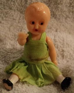 Miniature Baby Doll Hard Plastic Moving Arms Legs Eyes