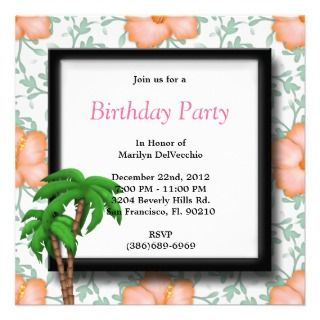 Party Flowers and Palm Trees Personalized Invitation