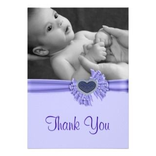 Heart Baby Photo Thank You Card Custom Invitation