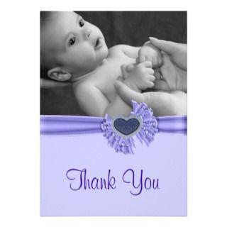 Heart Baby Photo Thank You Card Custom Invitation