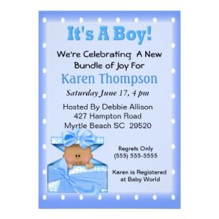 Its a Boy African American Baby Shower Personalized Invitations