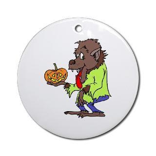 Werewolf holding jack o lantern Ornament (Round) > Werewolf holding