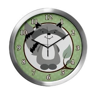 Enchanted Forest Raccoon Modern Wall Clock 14 inch for $42.50