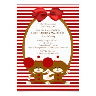 Monkeys TWINS Birthday Invitation invitations by celebrateitinvites