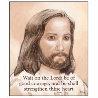 Sepia Jesus Art Bible Quote   Psalm 27:14 Photo Sculptures