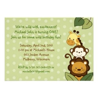 Safari Jungle Animal Custom Birthday Invitations