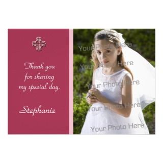 Pink White Cross Religious Photo Card Custom Invites