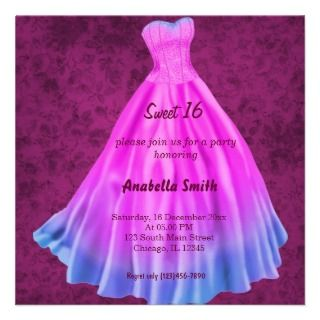 Long dress Sweet 16 (Pink) Custom Invitations