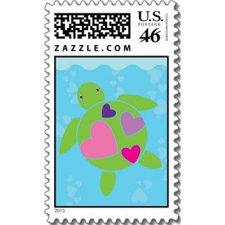 Heart Sea Turtles Valentines Day Card 5 x 7