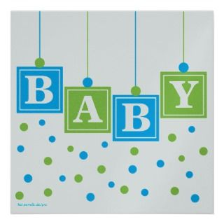 BABY Blocks Blue Green Boy Baby Shower  CUSTOM Personalized