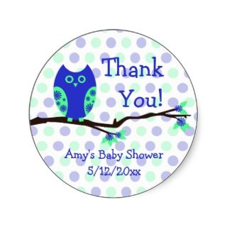 Blue Owl Personalized Baby Shower Favor Tags Round Stickers