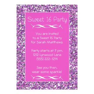 Sweet 16 Party Invitation Pink Silver Sparkle