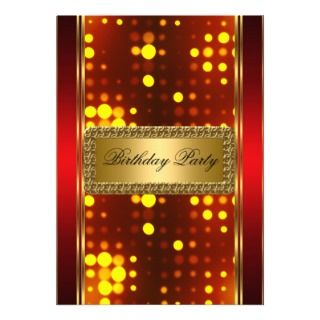 Gold Silver Fire Red Art Deco Invitation