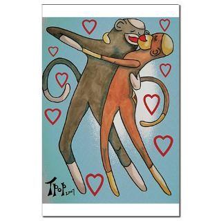 Dancing Hearts Sock Monkeys  TpopArt