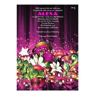 Bat Mitzvah Invitation Alexa Black Sweet 16 Party