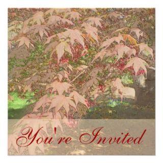 Red Japanese Maple Square Invitation