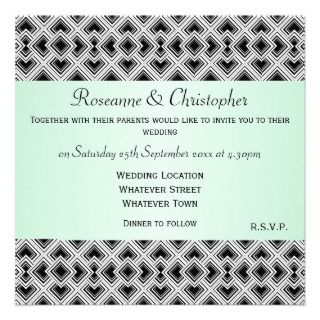 And White Art Deco Mint Wedding Custom Invitations