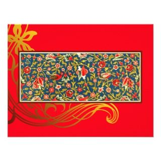 Blue Bird Flourish Indian Note Card