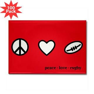 Peace Love Rugby Rectangle Magnet (100 pack) for $250.00