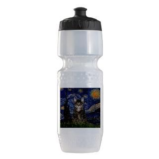 Cat Art Gifts  Cat Art Water Bottles  Starry Night & Tiger Cat