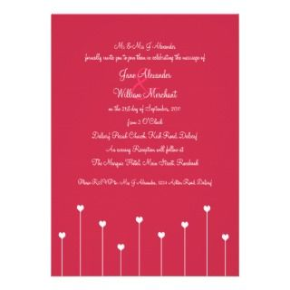 Wedding Invitation Simple, Modern Pink Love Hearts