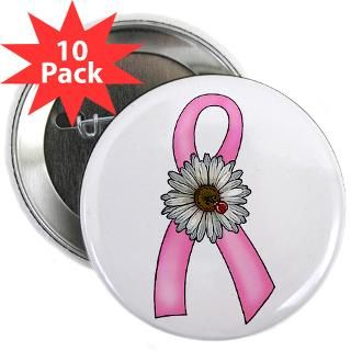 Pink Ribbon, Daisy & Ladybug 2.25 Button (10 pack