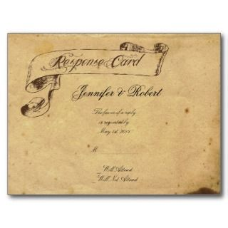 Old Fashioned Elegance Parchment Quill RSVP Postcards
