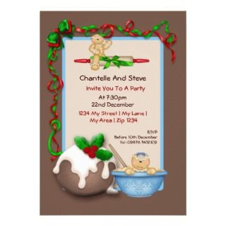 Christmas Gingerbread Man and Pudding Invitation