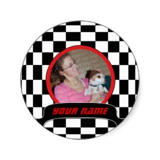 Checkered Square Round Sticker
