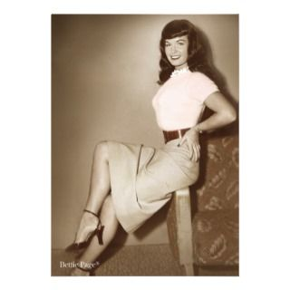 Bettie Page Vintage Pinup in Cute Pink Sweater Personalized Invitation