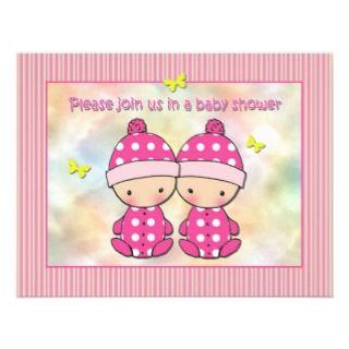 twin girls baby shower invitations