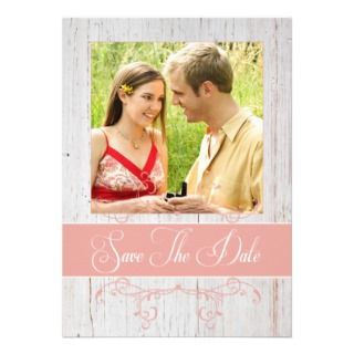 Rustic Wood   Save The Date with Photo in Pink Custom Announcements