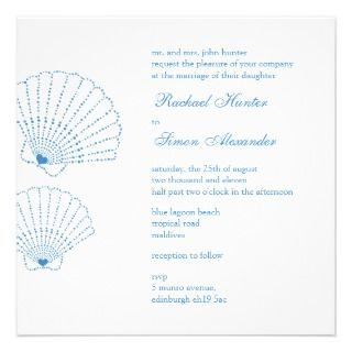 Shell Love Heart Beach Wedding Invitiation Announcements