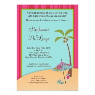5x7 On the Beach Tropical Baby Shower Invitation