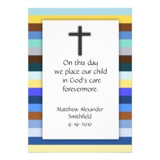 Blue Multi Stripe Cross Boys Baptism Invitations