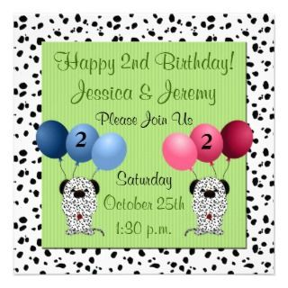 Twins 2nd Birthday Party Invitation Green