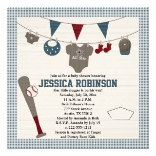 cute red and blue baseball themed baby shower invitations and invites