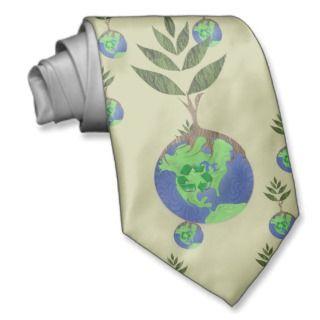 Reuse Reduce Recycle Tree Earth Globe Neck Ties