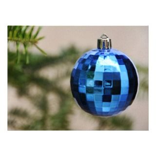 Blue christmas tree ornament custom invite