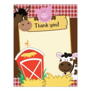 Farm Babies Writable Flat Thank you Card Custom Announcements