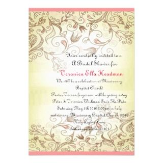 Vintage Style Pink Nature Scene Wedding Invitation