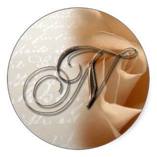 Monogram Letter N 2008 Wedding Envelope Sticker