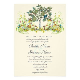 Swirled Flower Love Birds Tree Wedding Invitation