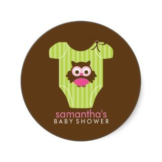 Hoot Owl Outfit Girl Baby Shower Round Stickers